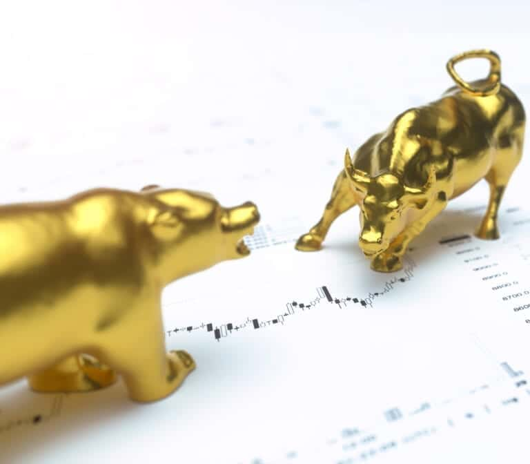 Wallstreet bull and bear on stock chart background. Stock exchan