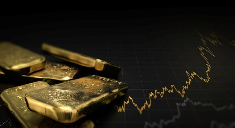 3D illustration of gold ingots over black background with a chart